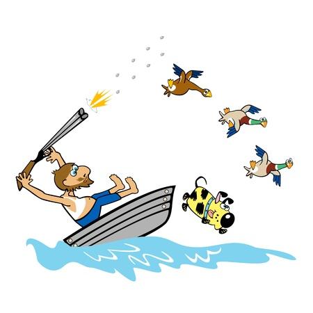 hombre disparando: canotaje edad patos de caza salvaje, ilustración de dibujos animados sobre fondo blanco