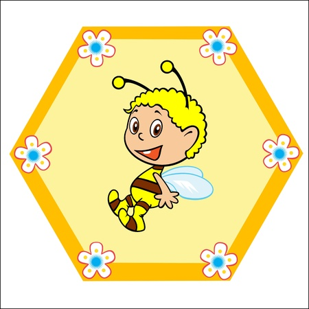 baby bee single picture children illustration Stock Vector - 14676947