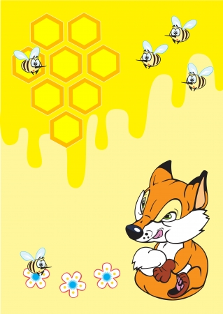 flaying: cute little fox and honeycomb with flaying bees  children illustration on yellow background