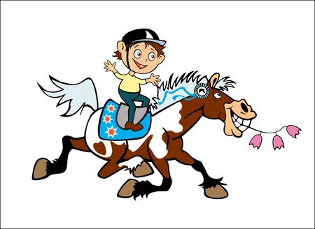 trotting: cartoon image of little boy riding cheerful pony horse children illustration isolated on white background Illustration