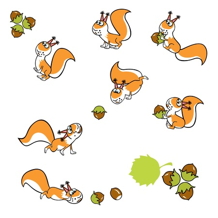 cartoon squirrel with hazel nuts isolated on white background children illustration Illustration