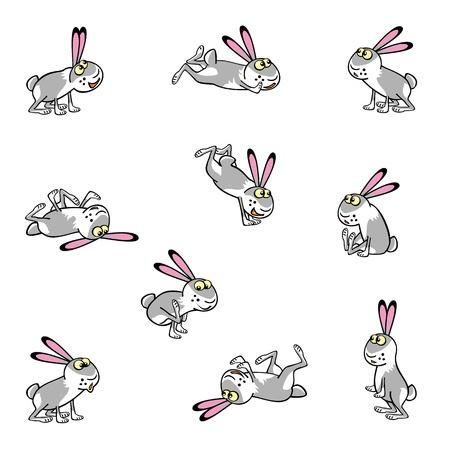 liebre: jugando conejos de la historieta aislados en el fondo blanco ilustración infantil