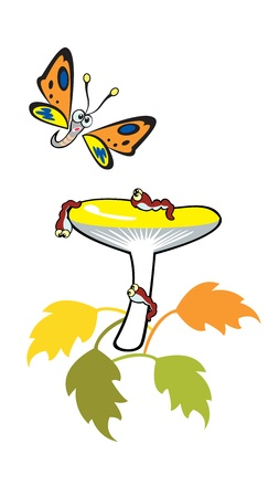 mushroom with caterpillar and butterfly children illustration isolated on white background Stock Vector - 14756245