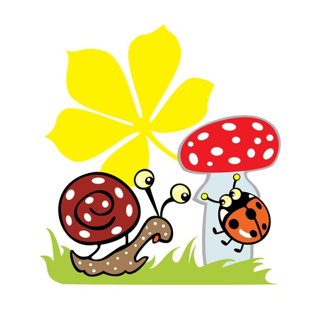 a fly agaric: snail, lady bird and fly agaric isolated image on white background children illustration