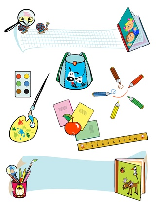 set of school tools isolated on white background Vector
