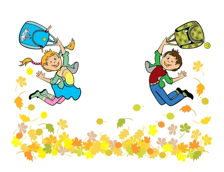 school bag: happy little boy and girl back to school isolated on white background children illustration