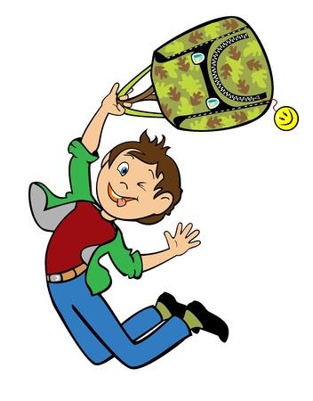 1 school bag: jumping cartoon boy holding camouflage backpack children illustration isolated on white background Illustration