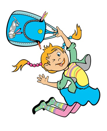 1 school bag: jumping happy school girl with school bag isolated on white background children illustration