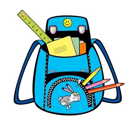 knapsack: blue school bag with school tools isolated on white background
