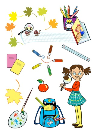 set with school girl and school tools isolated on white background children illustration Vector