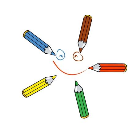 cinq crayons de couleur tirant l'image sourire isolé sur fond blanc Vecteurs