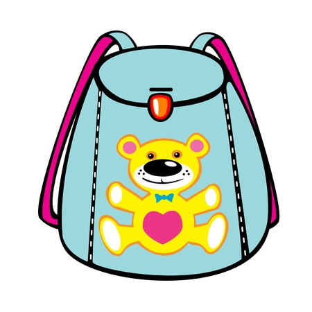 school bag: blue school bag with bear isolated on white background