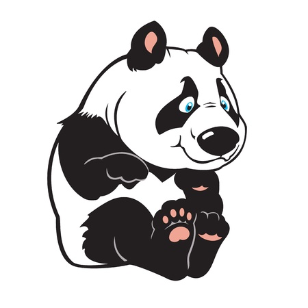 sitting childish panda children illustration isolated on white background Stock Vector - 14822880