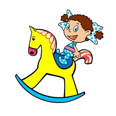 little girl on a yellow toy horse children illustration isolated on white background Vector