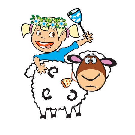 little girl shepherdess with sheep and bell,children illustration isolated on white background Иллюстрация