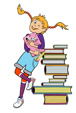 happy school girl standing by heap of books and holding book ,children illustration isolated on white background