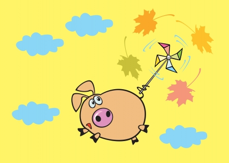 flying pig in sky cartoon children illustration isolated on yellow background Vector