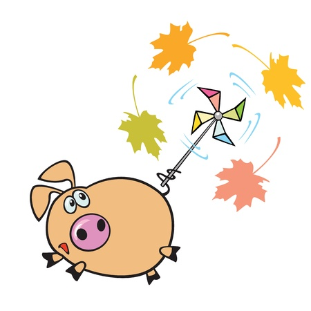 single eyed: flying pig with windmill toy,children picture isolated on white background