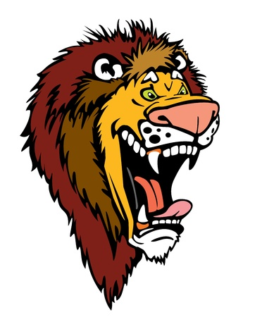 cartoon roaring lion head isolated on white background Vector