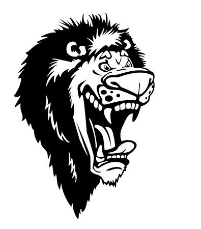 king caricature: dibujos animados cabeza de le�n rugiente aislado en el fondo blanco en blanco y negro Vectores