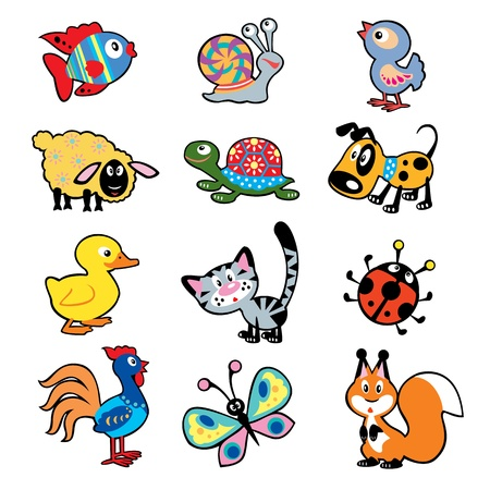 ovejita bebe: conjunto de dibujos infantiles sencillos con animales, ilustraci�n para el beb� y el ni�o peque�o