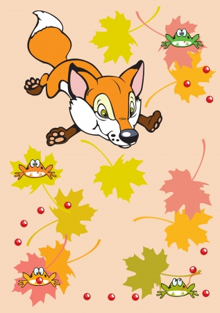 childish little fox playing with autumn leaves and frogs,children illustration on pink background