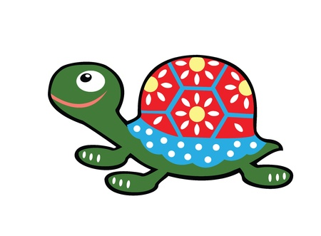 simple childish turtle  Vector