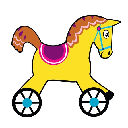 baby picture: simple childish horse toy  Illustration