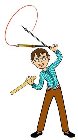 compas de dibujo: escuela niño con el círculo de dibujo brújula, la lección de matemáticas Vectores