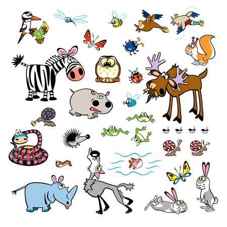 set of childish cartoon wild animals and little creatures,cute children pictures isolated on white background Vector