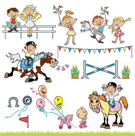 trotando: vector conjunto de ni�os pony competencia jinetes, ni�o y ni�a montando a caballo y los ni�os felices, ni�os fotos aisladas sobre fondo blanco Vectores