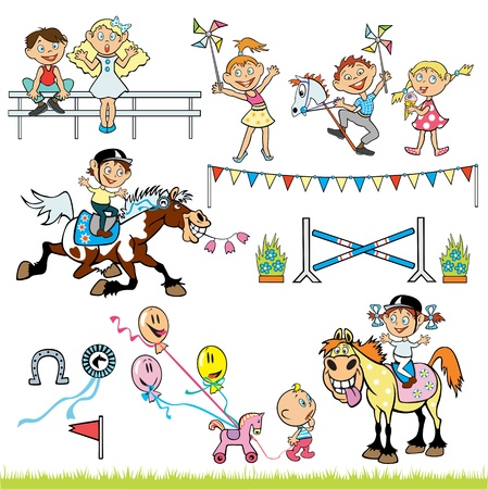 ponies: vector set of children pony riders competition,little boy and girl riding horses and happy kids,children pictures isolated on white background