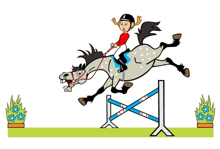 equestrian sport: cartoon image of little girl with happy pony horse jumping a hurdle children illustration isolated on white background