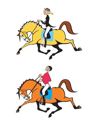 trotando: dibujos animados hombre y la mujer jinetes, la competencia de doma, ilustraci�n vectorial aislados en fondo blanco