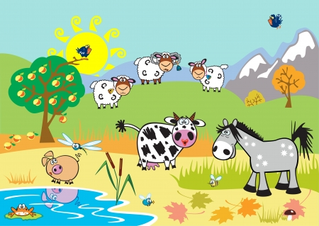 horizontal landscape with childish farm animals,cartoon images,children illustration for little kids Vector