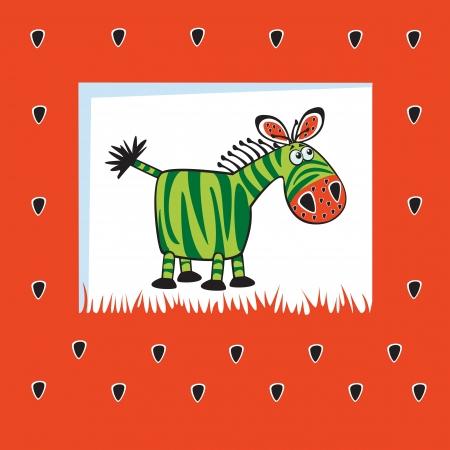 gullig zebra som vattenmelon, barnslig design på röd bakgrund, barn illustration för bebisar och små barn
