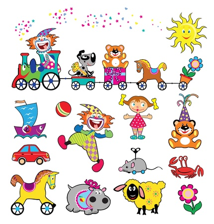 vector set of simple childish pictures with toys,isolated on white background images for babies and little kids Vector