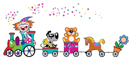 birthday train: cute colourful train with gifts,toys and driver clown,children vector illustration isolated on white background