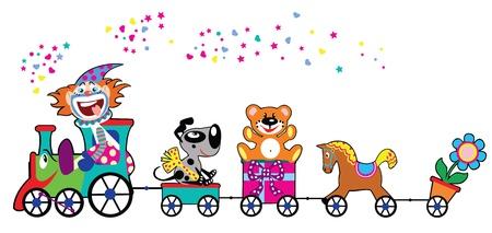 leuke kleurrijke trein met giften, speelgoed en bestuurder clown, kinderen vector illustratie geïsoleerd op witte achtergrond