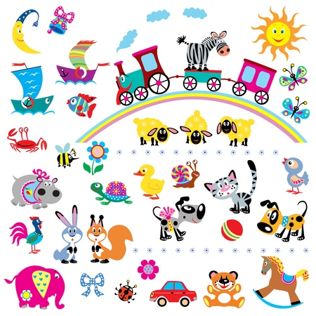 big vector set of simple children pictures for babies and little kids ,isolated on white background Vector