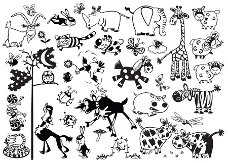 big cartoon set of childish most popular animals,black and white vector pictures for little kids
