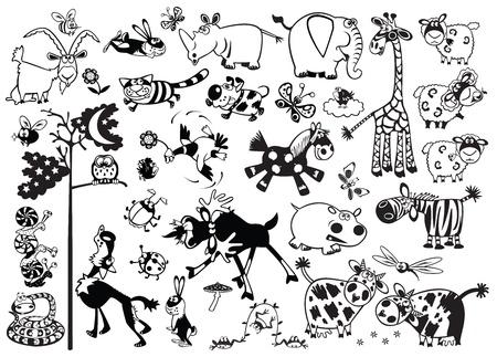 illustration zoo: grande insieme di cartone animato infantili animali pi� popolari, nero e immagini vettoriali bianco per i pi� piccoli
