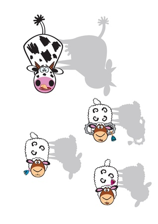 bull's eye: cartoon cow and sheep with shadows isolated on white background,children vector pictures
