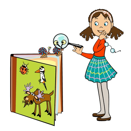 cartoon school girl: standing little school girl by book of animals and holding magnifying glass ,vector picture isolated on white background,children illustration