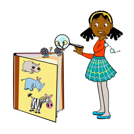 interesting: standing little Afro girl by book of Africa animals and holding magnifying glass ,ivector picture isolated on white background,children illustration Illustration