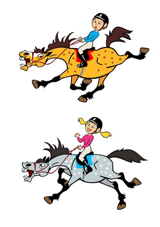 equestrian sport: cartoon pictures of little boy and girl horse riders,playful trotting and galloping ponies ,children vector illustration isolated on white background