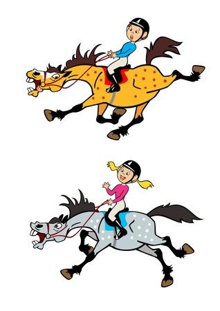 trotando: im�genes de dibujos animados de ni�o y ni�a jinetes a caballo, juguet�n trote y galope caballos, los ni�os ilustraci�n vectorial aislados en fondo blanco