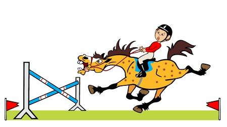 salto de valla: dibujos animados imagen del ni�o montando caballo pony ni�os alegre ilustraci�n aislado sobre fondo blanco