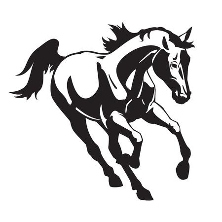 순 혈종의: 실행중인 말, 흰색 배경에 고립 된 검은 색과 흰색 벡터 이미지