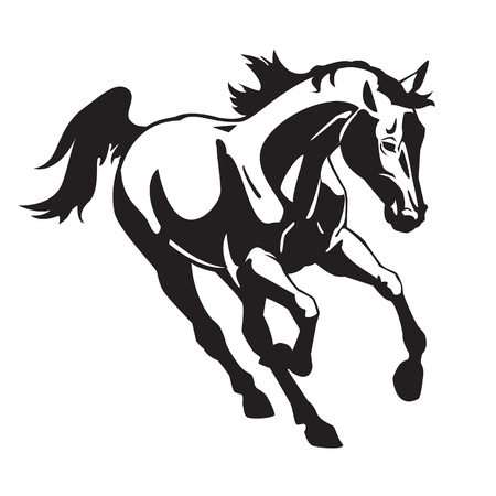 horses: running horse,black and white vector image isolated on white background
